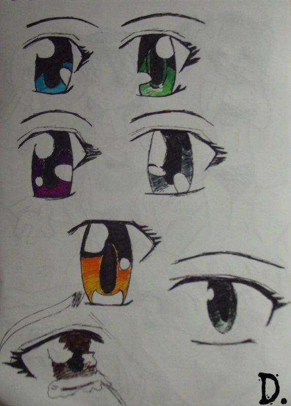 Différents types d'oeil mangas.