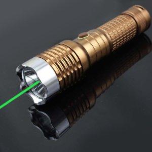 グリーンledライト 搭載レーザーポインター狩猟 充電式懐中電灯 2in1防水