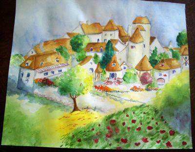 Aquarelle village des dessins - Village dessin ...