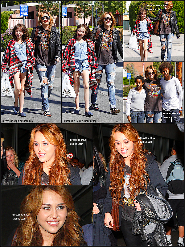 . 11/04/11 : Miley et sa s½ur Noah sortaient du restaurant Sharky' s. TOP ou FLOP ? .09/04/11 :  Miley et sa maquilleuse Denika arrivent à Los Angeles . TOP ou FLOP ? .