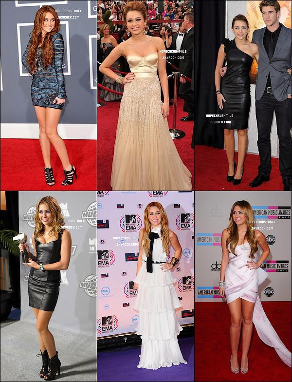 . Miley a foulé pas mal de tapis rouge. Mais Quelles tenues lui vont le mieux ?   .