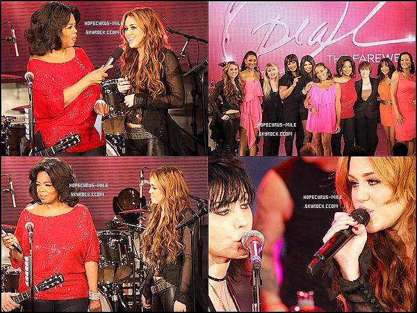 - 13/04/11: Miley Cyrus été a l'émission d'Oprah  « Spécial Rock Godesses » .TOP ou FLOP ? .Visionne la vidéo ou Miley fait un duo avec Jett  . En cliquant-ici.-