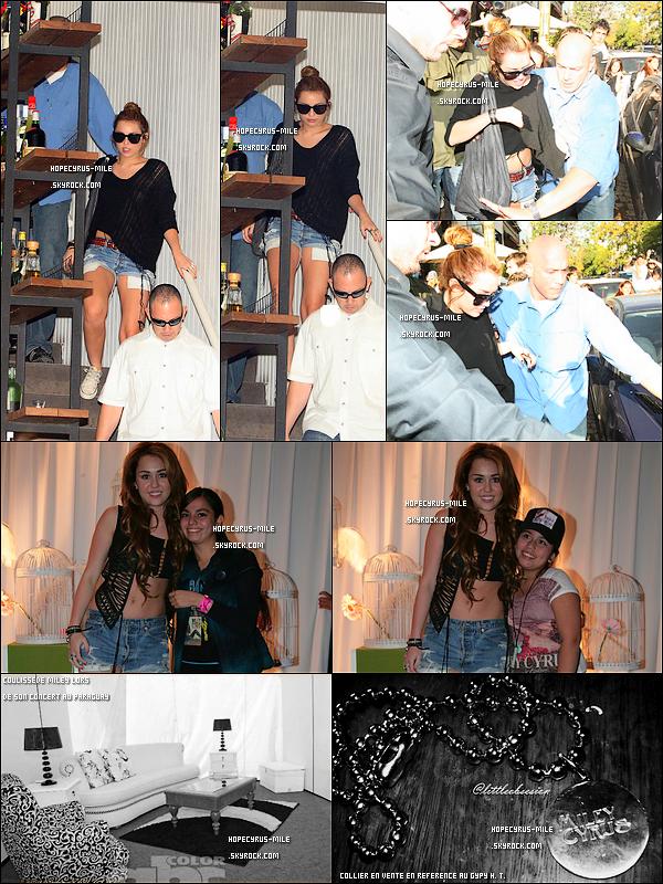 .  04/05/11 : La belle , Miley Cyrus a rencontrée quelques fans au Chili .   07/05/11 : Miley Cyrus et une de ses danseuses sortaient d'un restaurant à Palermo. .