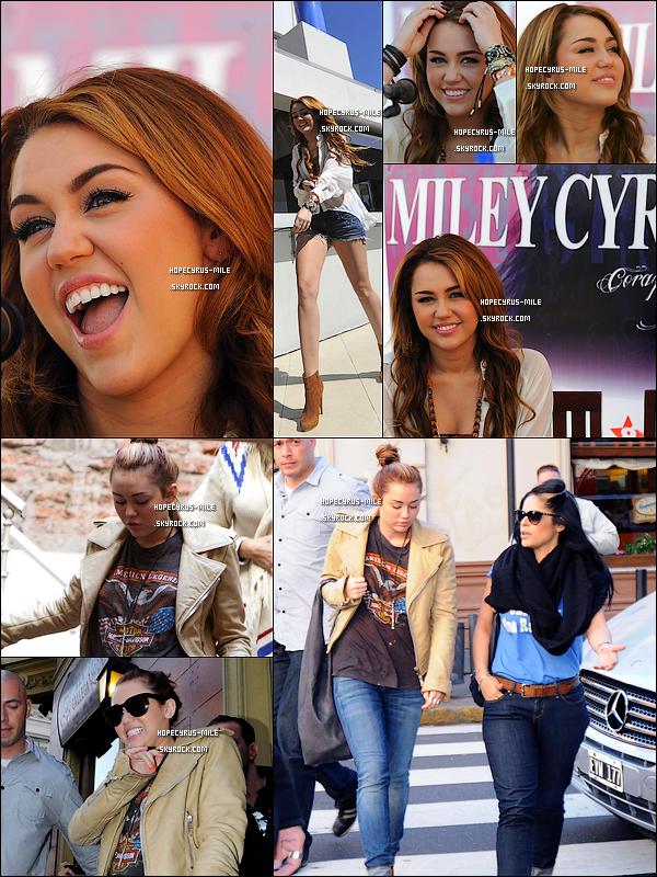 .  10/05/11 Miley, était présente à une conférence de presse à Asuncion, au Paraguay.   09/05/11 : Mil', sa maquilleuse , sa mère Tish ont fait du shopping à San Telmo, en Argentine.   Après sa , Miley et Tish étaient à l'aéroport de Silvio Pettirossi, au Paraguay. .