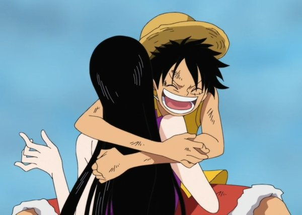 Calin de Luffy à Hancock