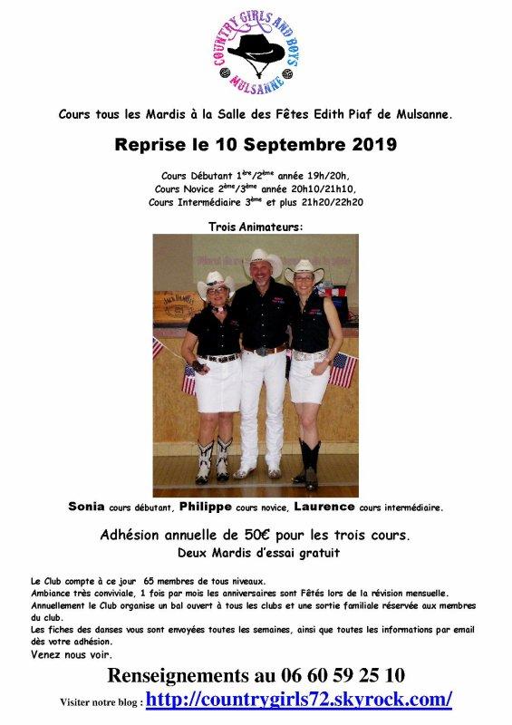 Reprise des cours le 10 septembre 2019