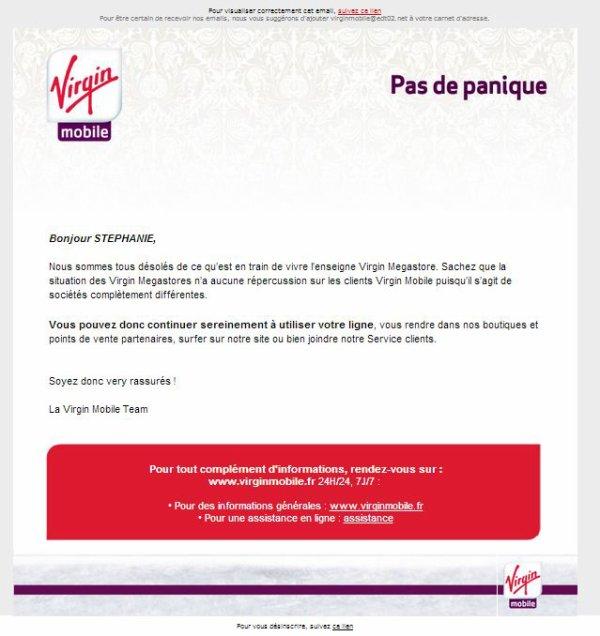 Email de Virgin Mobile : Pas de panique !