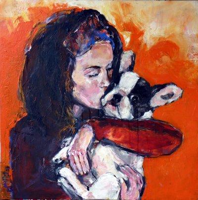 jeune fille et son chien 100 x 100 picture tableau. Black Bedroom Furniture Sets. Home Design Ideas