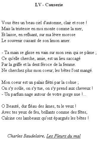 Poesie Baudelaire Causerie 1857 Fiches Français
