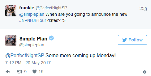"""Simple Plan annoncera de nouvelles dates pour la tournée """"No Pads"""" demain"""