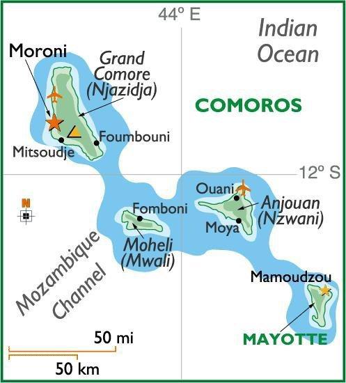 les îles Comores ses trouve: