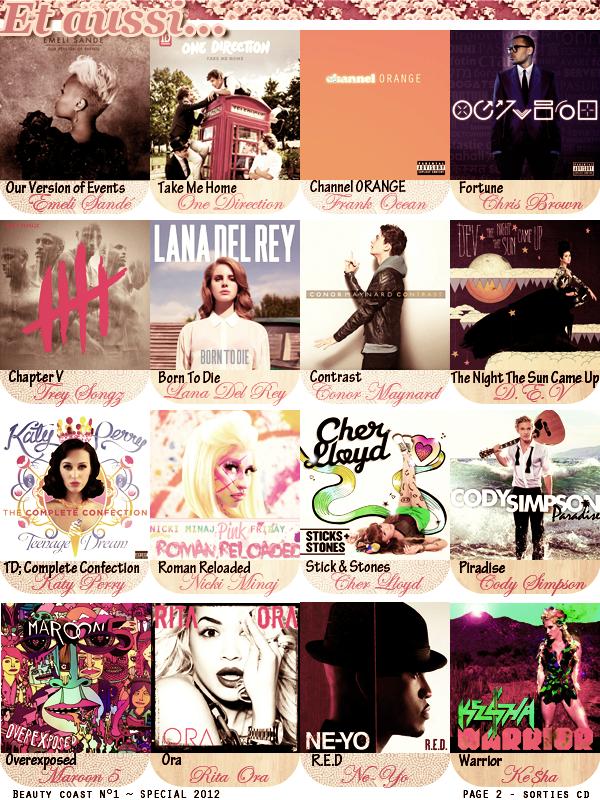 Article n°1, sorties CD  - Posté par Audrey, le 8 janvier 2013  Avez vous écouté l'un de ces albums ? Si oui, le(s) quel(s) ? Quelle est votre chanson préférée ? D'autres CD vous ont plu/déçu en 2012 ?