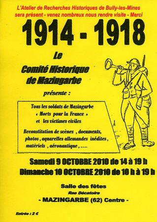 Art 1363 : Le Comité Historique de Mazingarbe les 9 et 10 octobre 2010