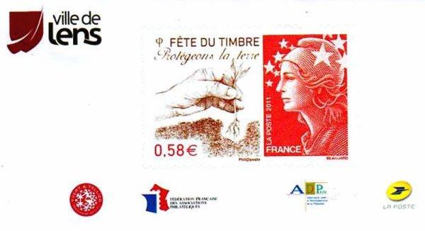 """Art 1455 : Exposition"""" Fête du Timbre """" à Lens les 26 et 27 /02/2011"""