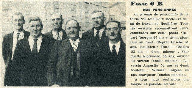 Art 1595 : Pensionnés de la fosse 6 des Brebis en août 1951