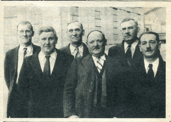 Art 1634 : Six pensionnés de la fosse 6 des Brebis ( Bully ) en 1951