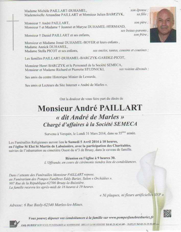 Art 1790 : Blog de andrédemarles : Au revoir André