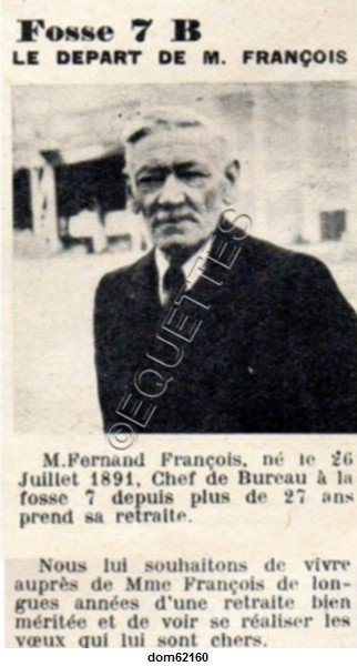 Art 1804 : Un pensionné de la Fosse 7 de Mazingarbe, juin 1951