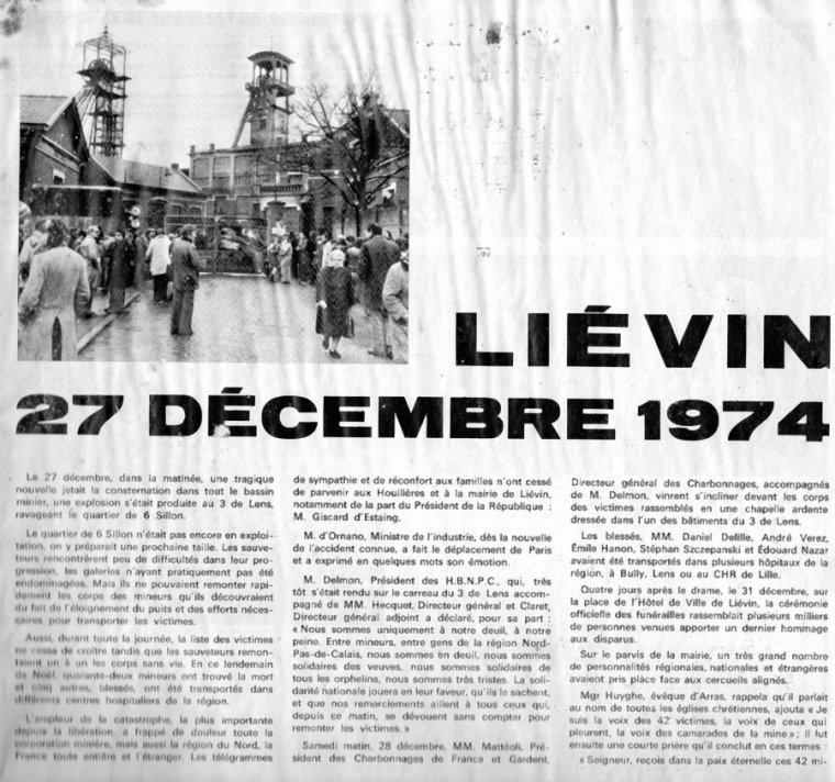Art 1828 : Le Bassin minier en deuil en 1974