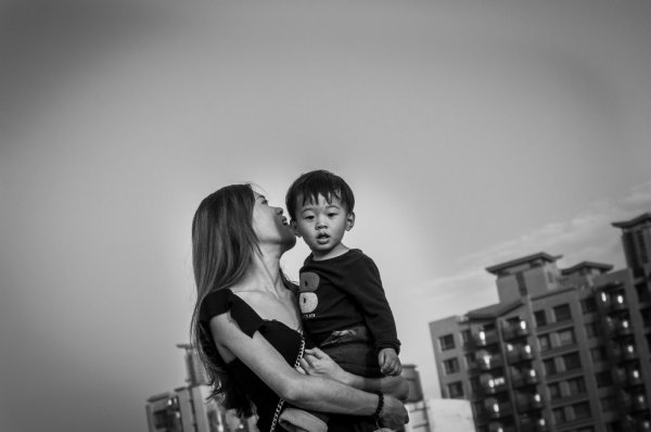 Mother and son, intense love
