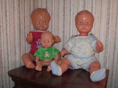 Les premières poupées de mes filles (les derniers baigneurs fabriqués) offerts par ma mère