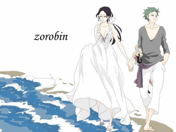 """ Photo du mariage de zoro et robin """