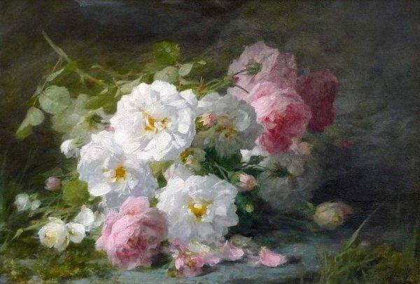 Avec des roses blanches !!