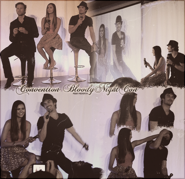 5 Mai 2012: ian Somerhalder , Nina Dobrev et quelques membres du cast à la convention Bloody Night Con 2 à Barcelone. (création de Creation & Fan Art )