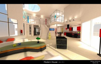 dscriptionmaison moderne on on peut voir une cuisine une salon escalier avec recption balcon interieur