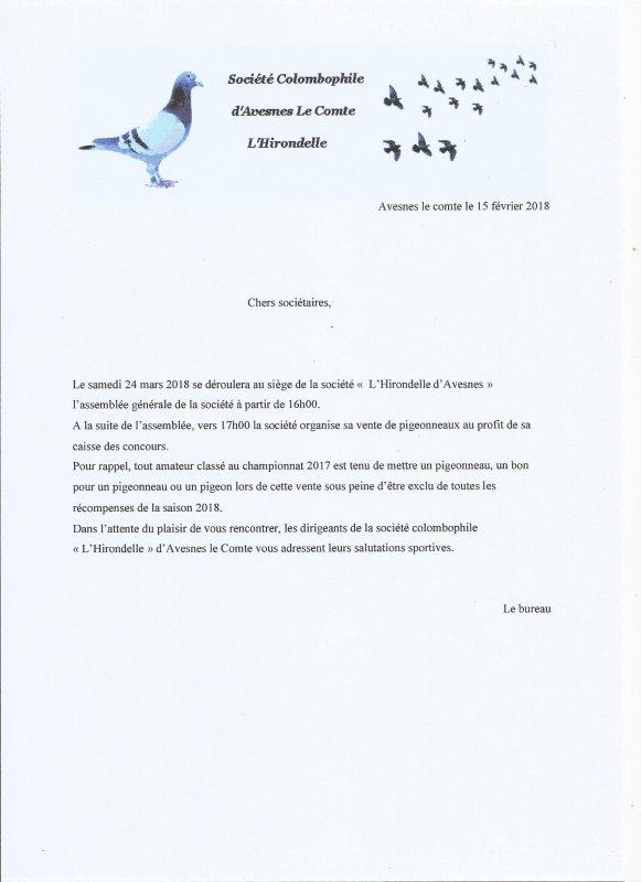 Réunion Assemblée générale le 24 mars