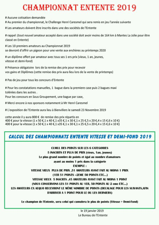 Championnat Entente 2019