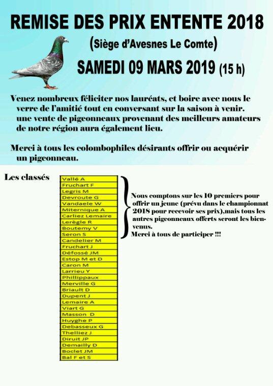 Le Samedi 09 mars 2019 aura lieu la Remise des prix Entente 2018 qui sera suivie d'une vente pigeonneaux... Venez nombreux passer un bon moment de convivialité...