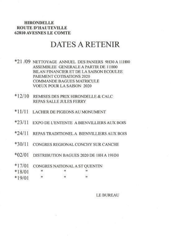DATES DES ÉVÉNEMENTS À VENIR