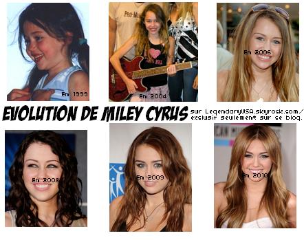 Miley et son évolution...Miley a beaucoup trop changé au fil des années.En 1999,elle n'avait que 7 ans alors qu'elle était un tout petit bout de choux.Elle grandit,elle grandit lorsqu'en 2008,elle se teint les cheveux en noir,je n'aime pas du tout,ça ne lui va pas trop,je l'a préfère blonde.En 2009,elle devient chatain,j'adore ça lui va bien.Et enfin en 2010,elle est redevenue blonde comme j'aime.Elle est juste magnifique et sublime,elle a vraiment trop changé.