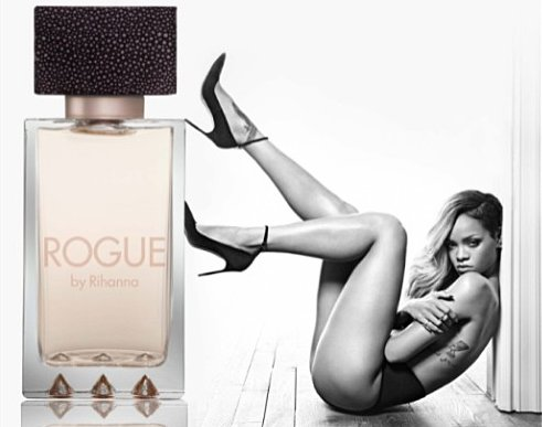 "Photo promotionnelle pour le parfum ""Rogue"" par Rihanna"
