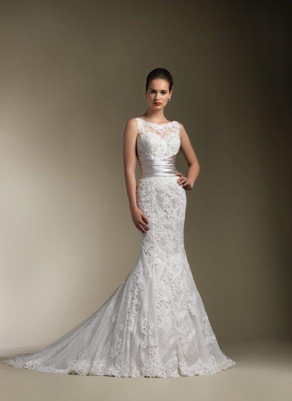 Satin Sabrina Neckline trumpet Wedding Dress
