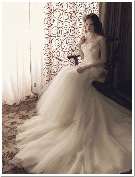 English Net One Shoulder Embroidered Bodice Wedding Dress