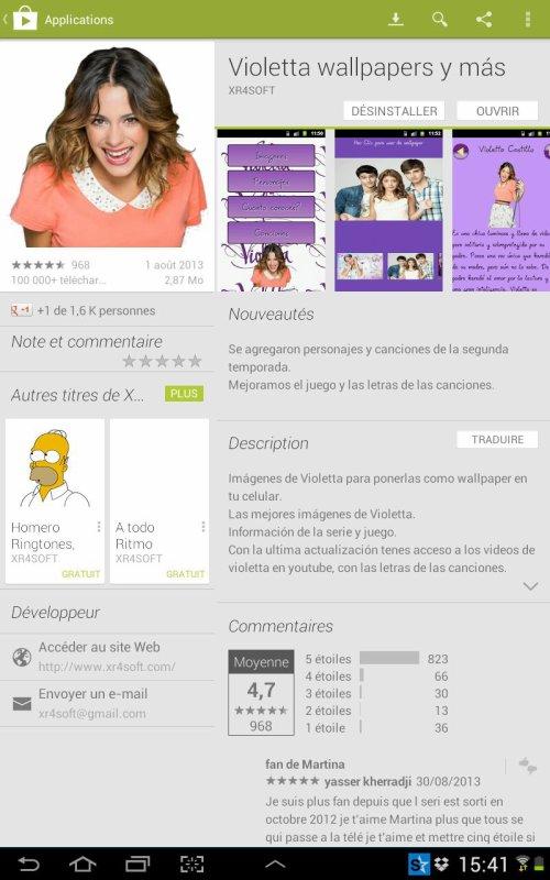 Les applications Violetta :D Je sais pas si ils en ont ressorti d'autre :)