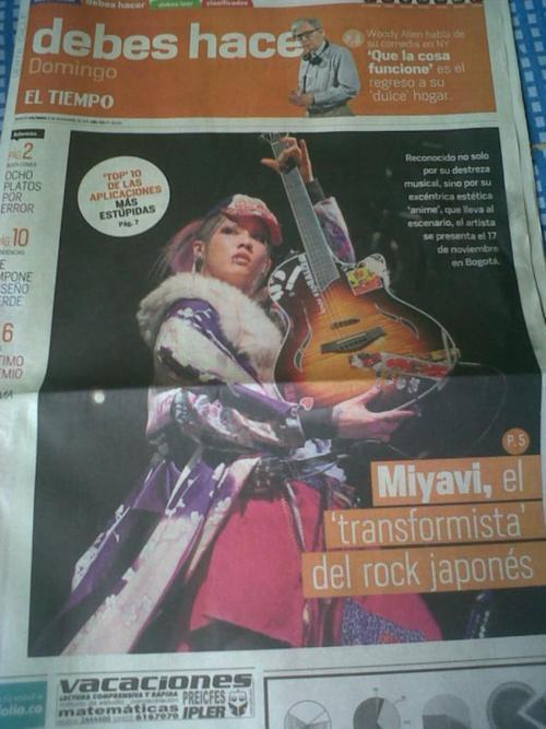 """""""El Tiempo"""" journal (novembre 2011)"""