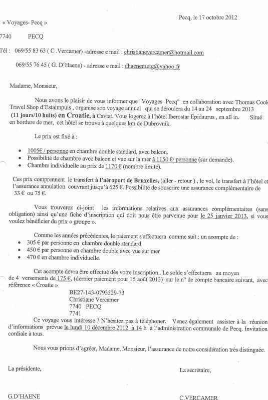 PECQ - PREPARATION DES VACANCES EN SEPTEMBRE