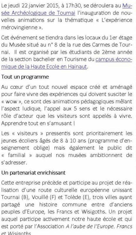 2015-01-22-TOURNAI - EXPOSITION SUR L'EXPERIENCE MEROVINGIENNE