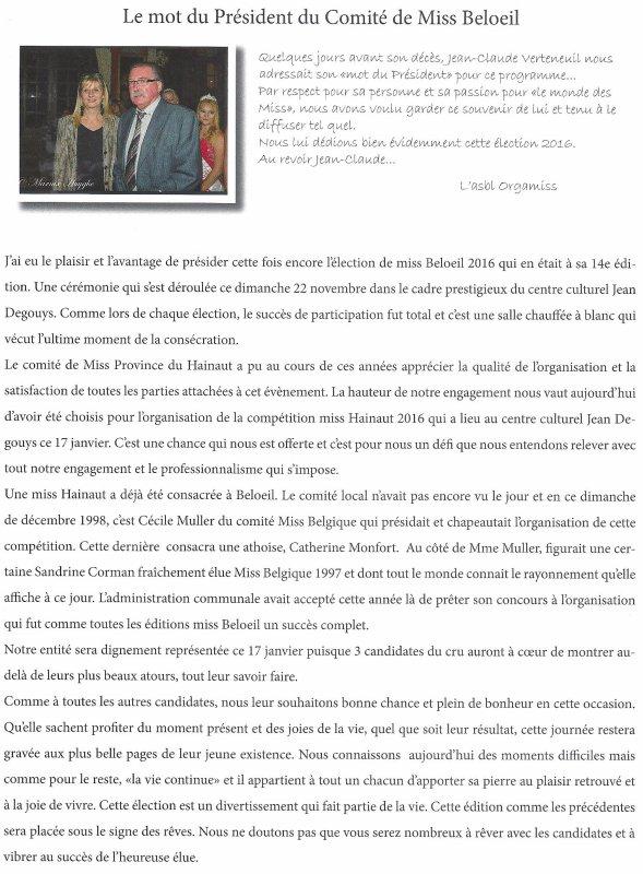 2016-01-17-BELOEIL - QUEVAUCAMPS - ELECTION DE MISS PROVINCE DE HAINAUT