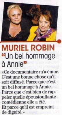 Passages TV :  Muriel Robin invitée aux JT de Claire Chazal ( 21/09/08) +  Documentaire sur Annie Girardot sur TF1.