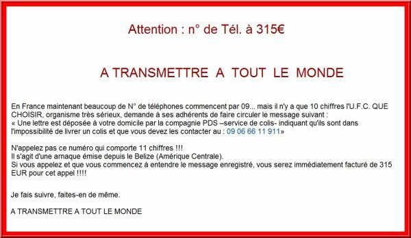 ATTENTION ARNAQUE TELEPHONE