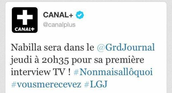 NABILLA DANS LE GRAND JOURNAL CANAL+ JEUDI 11 avril A 20 h30 !!!!!!
