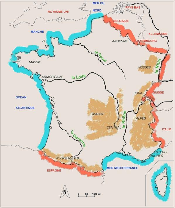 Cours de Géographie _ Contours de la France