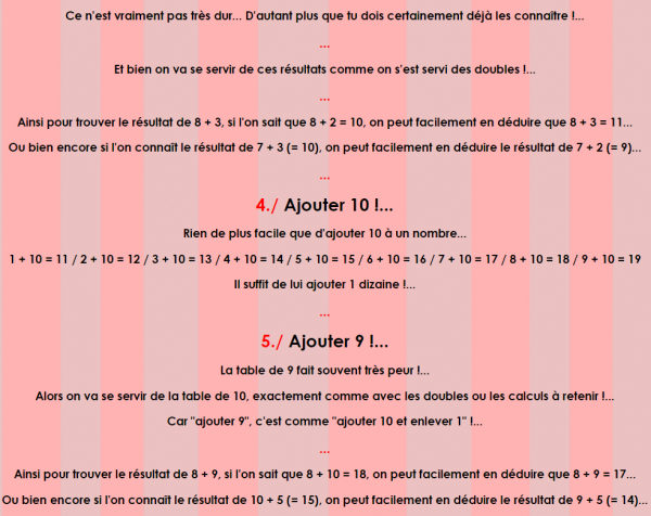 Cours de Calcul _ Les Tables d'addition