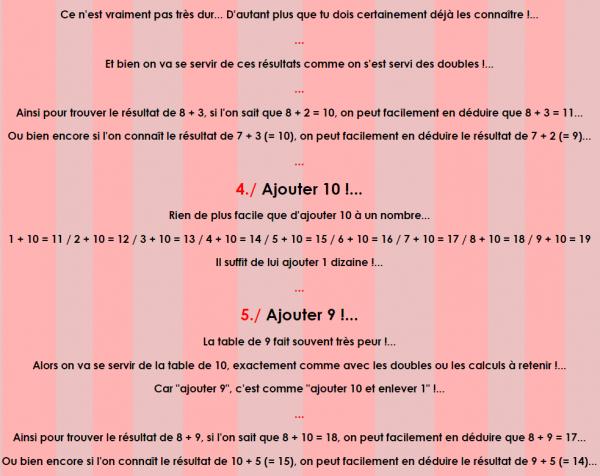 Cours de Calcul _ Les Tables d'addition