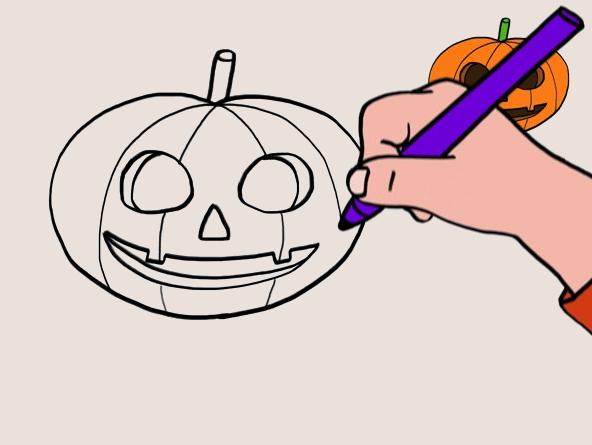 Cours de dessin _ Apprendre à dessiner une citrouille