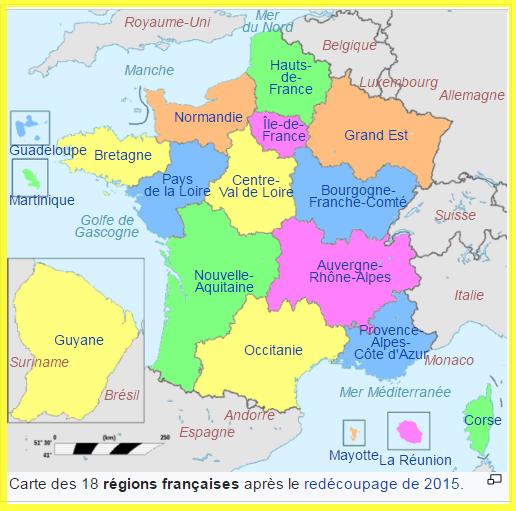 Les 18 Régions française